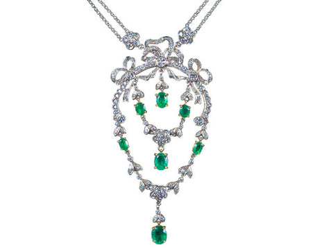 Emerald 4.34ct and Diamond 4.10ct Edwardian Necklace 18K White Gold