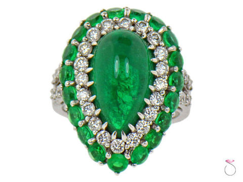 5.82ct Pear Shape Colombian Emerald & Diamond Double Halo Ring in 18K