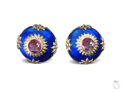 Estate 4ct Pink Tourmaline Enamel Dome Earrings in 14K