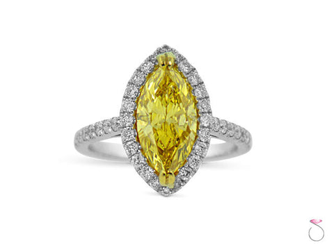 Marquise Fancy Vivid Yellow Diamond Halo Ring 2.70ctw in 18K