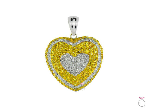 White Fancy Yellow Diamond Heart Pendant 14K