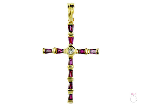Red Garnet Diamond Cross Pendant in 14K