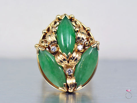 Ming's Hawaii Large 3 Stone Green Jade & Diamond Ring