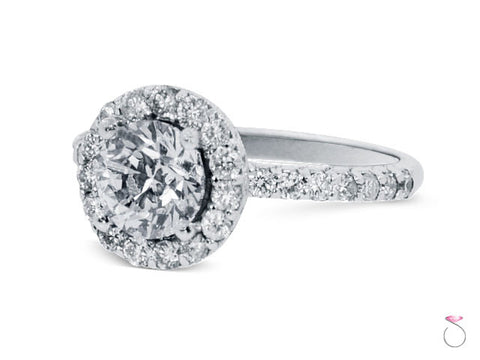 Halo Style Round Cut Diamond Engagement Ring 2.09ctw in 18K