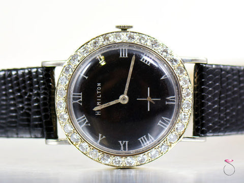 Rare Hamilton Black Dial 3 Carat Diamond Bezel 14K Watch