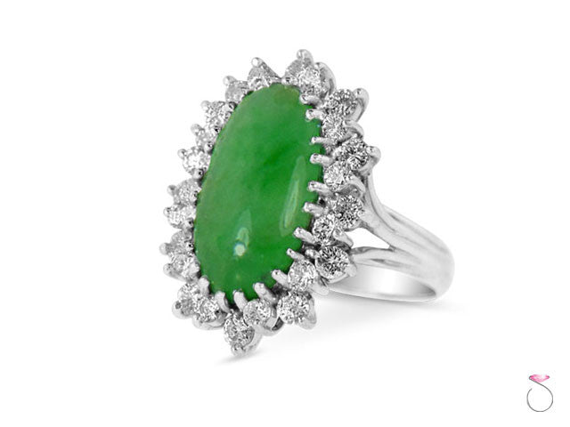 Jade Diamond Halo Ring Hawaii online sale