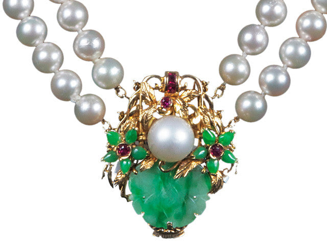 Antique Vintage Pearls Jade Necklace online sale Hawaii