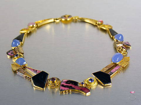 Handmade Multi-Gemstone Necklace Collar By Jeff and Susan Wise in 18K