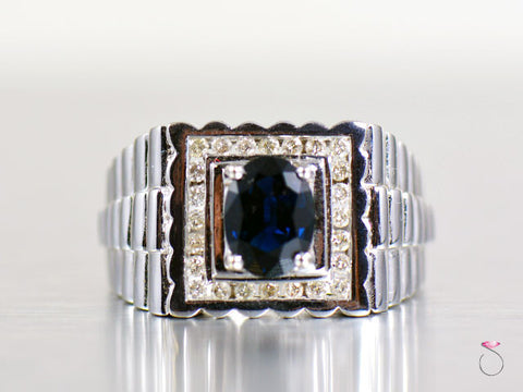 Blue Sapphire Diamond 14K White Gold Men Ring Band