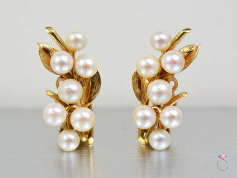 Ming's Hawaii White Akoya Pearls Clip Earrings in 14K yellow gold