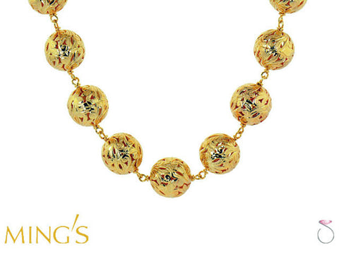 Ming's Pierced Ball Beads Necklace in 14K Yellow Gold