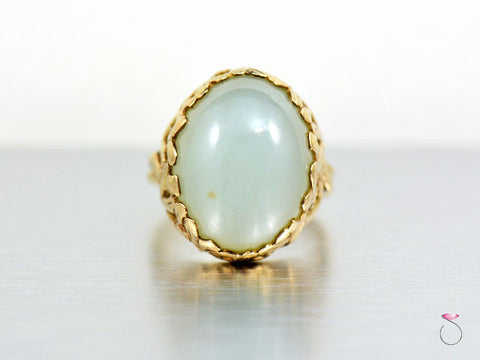 Ming's Hawaii Green Jade Bamboo Ring in 14K