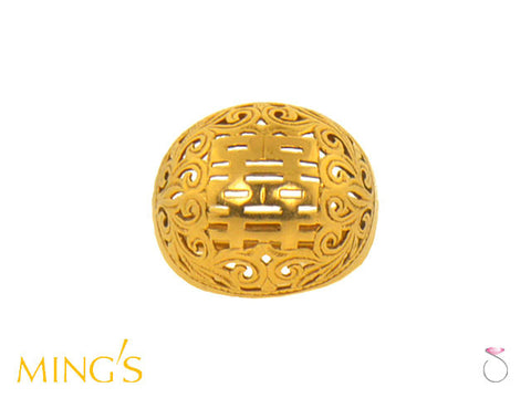 Ming's Double Happiness Dome Ring 14K Yellow Gold