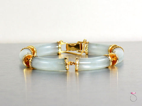 Ming's Hawaii Rare Sectional Pale Green Jade Bracelet in 14K