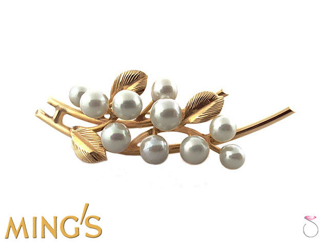 Ming's Pearls Leaf Brooch Pin in 14K Sale online
