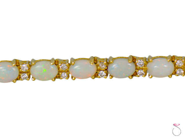 Fire Opal Diamond 1.00ctw Tennis Bracelet 6.5in 14K