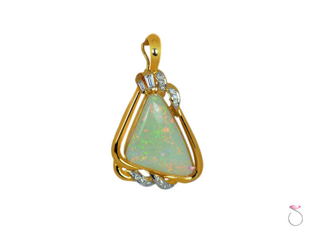 Fire Opal Diamond 0.20ct Triangle Pendant in 14K