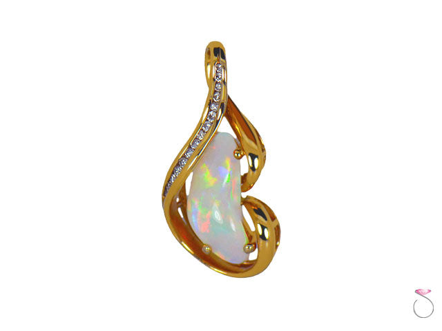 Fire Opal Diamond Nugget Pendant in 14K