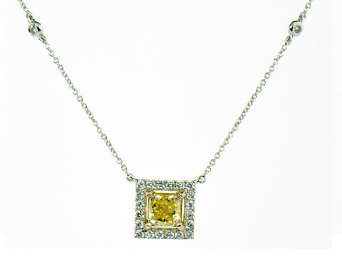 Fancy Intense Yellow Diamond Halo Necklace 1.64ctw in 18K