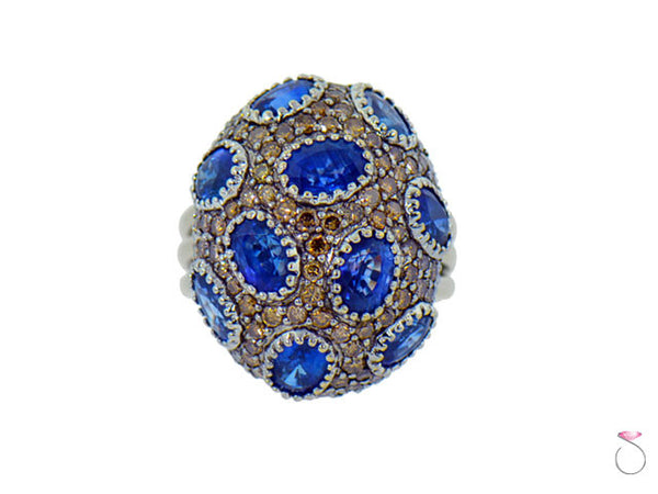 Sapphire And Diamond Dome Ring