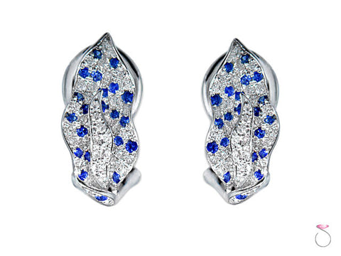 Diamond Sapphire Earrings Leaf Shape 1.02ctw in 14K