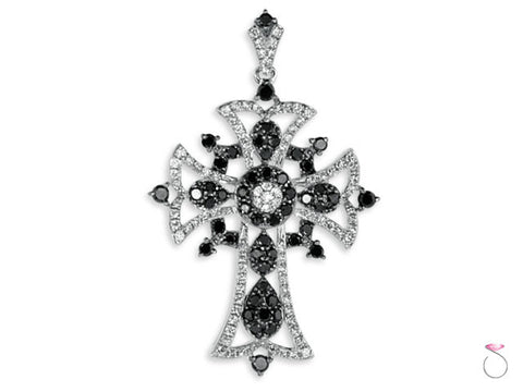 Black White Diamond 1.38CT tw Cross Pendant in 18K