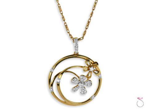 Diamond Flower Pendant .22ctw in 18K Rose Gold