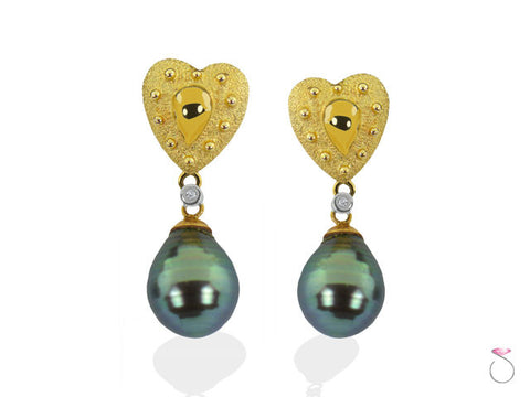 Black Tahitian Pearl Diamond Gold Heart Drop Earrings in 18K