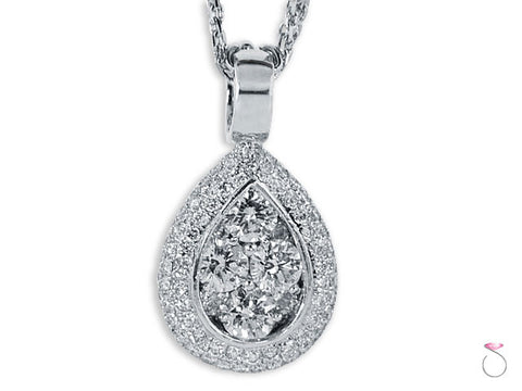 Teardrop Shape Diamond Cluster Halo 1.55ct DWT White Gold Pendant 18K