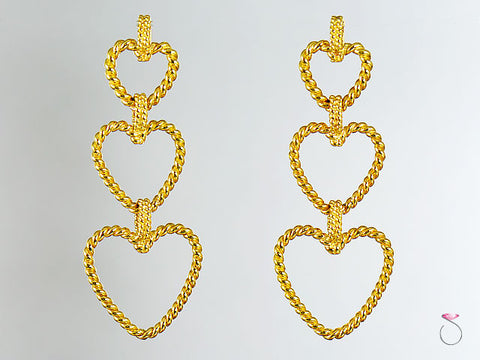 Vintage Vera Wang Breaded Hearts Dangle Earrings in 18K Gold