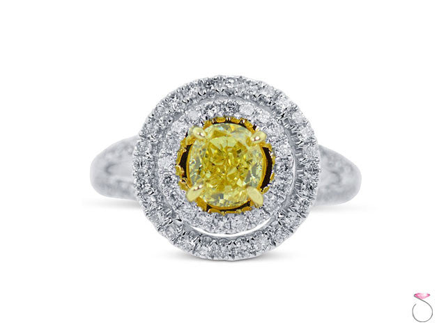 Yellow Diamond Halo Split shank engagement ring Hawaii 2.68 ct