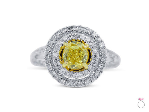 Certified Oval Cut Yellow Diamond 2.68ctw Double Halo Ring in 18K