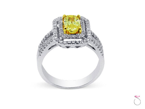 Fancy Intense Yellow Cushion Diamond Ring 1.40ctw in 18K