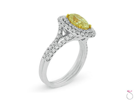 Oval Cut Yellow Diamond Double Halo Ring 2.34ctw in 18K