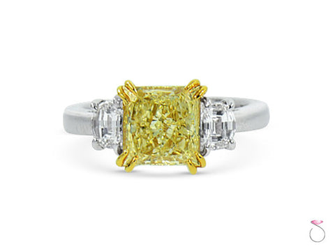 Radiant Yellow Diamond Three Stone Ring 3.82ctw in Platinum