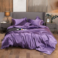 New 100% pure satin silk bedding set Home Textile King size bed set bed clothes duvet cover flat sheet pillowcases-thumbnail