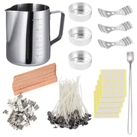 Newest DIY Candle Making Set, 550Ml Pouring Pot with Scale+100Pcs Candle Wicks+20Pcs Wood Natural Candle Wicks with Metal Stands-thumbnail