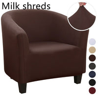 Plush Elastic Coffee Chair Sofa Cover Solid Color Leisure Stretch Bathtub Armchair Seat Cover Protector Washable Slipcover 1pc-thumbnail