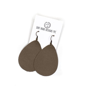 Dirt Road Designs YYC  Large Solid Leather Teardrop Brown