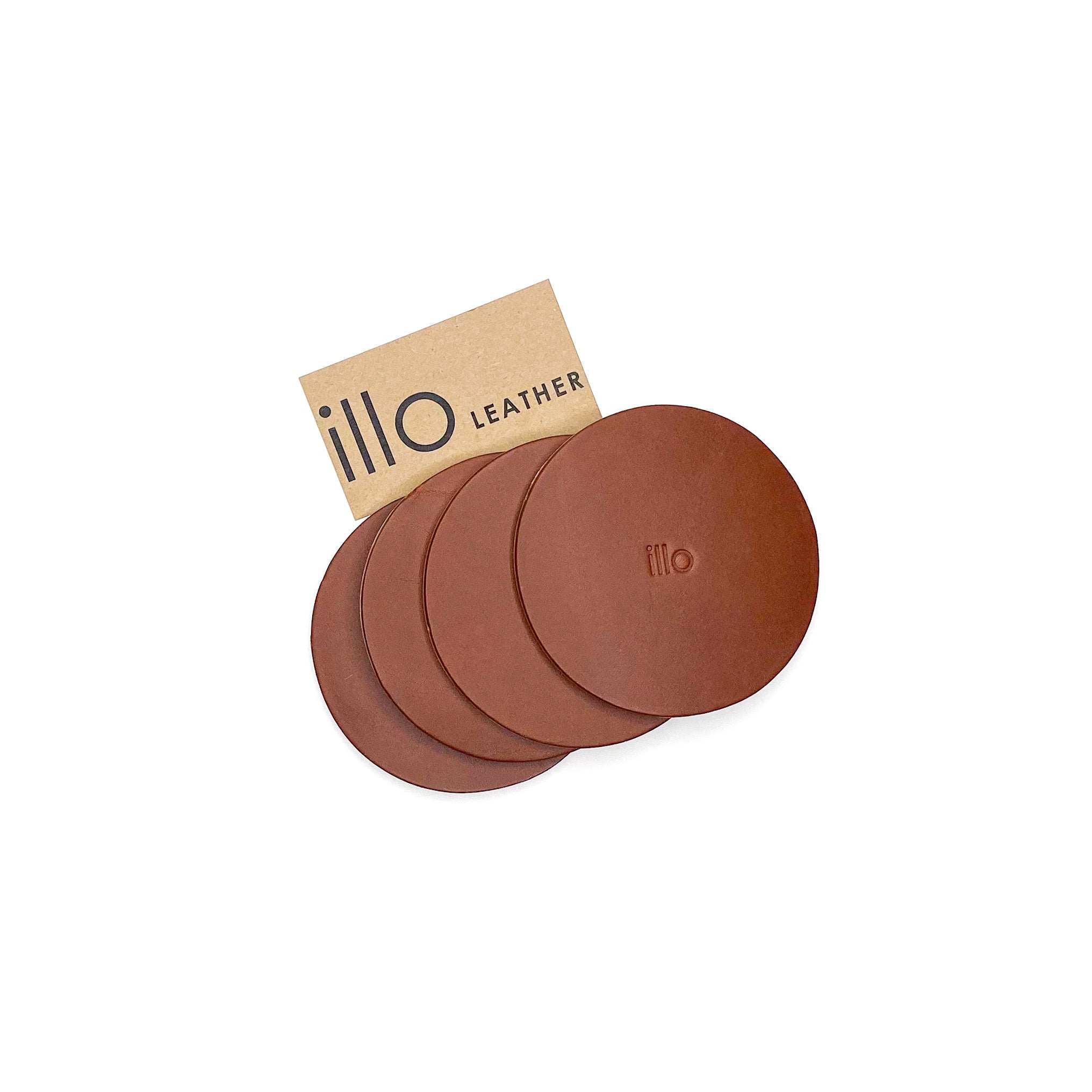 illo Leather Medium Brown Coaster Set of 4