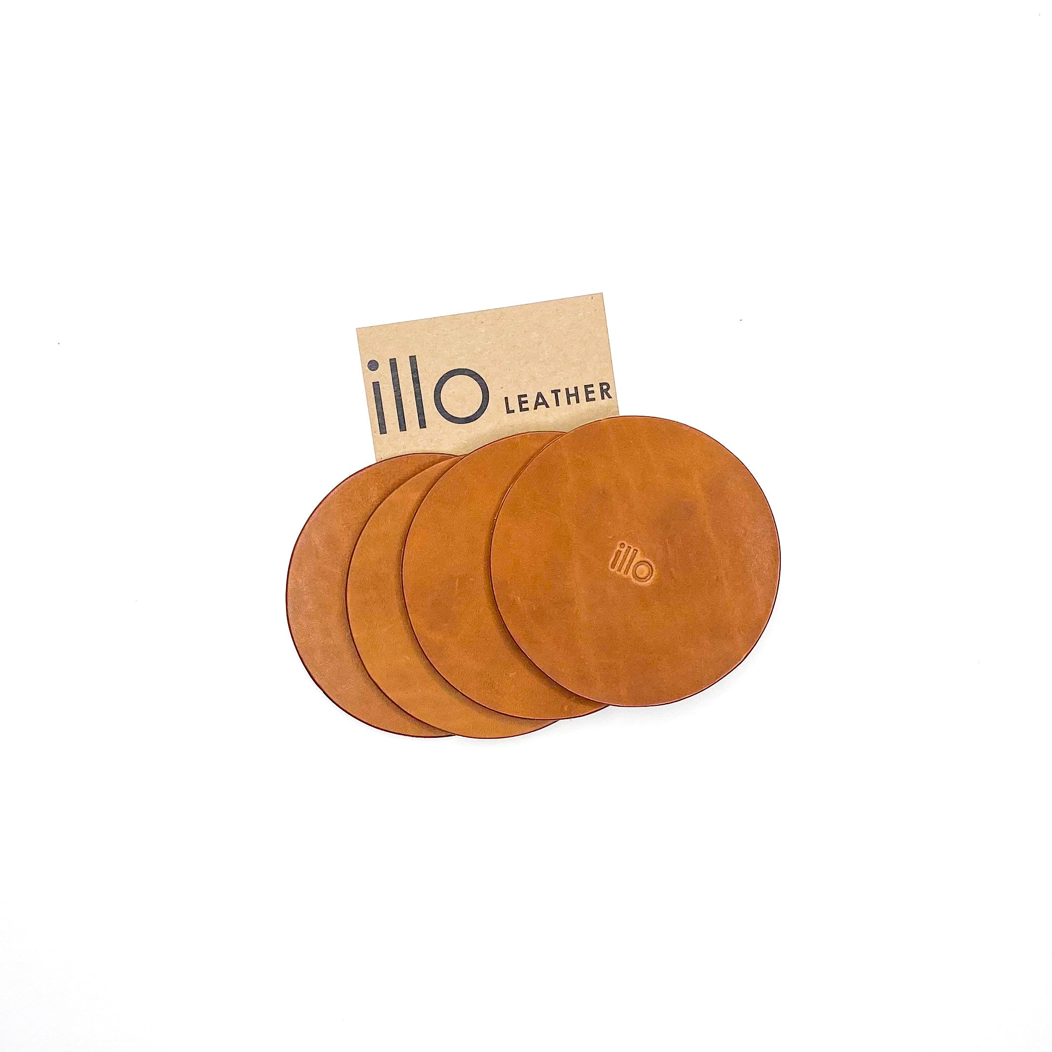illo Leather Buck Coaster Set of 4