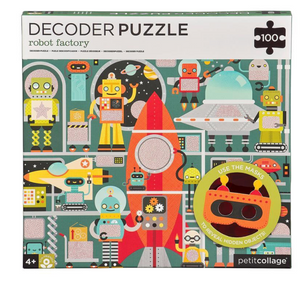 Petit Collage Decoder Puzzle Robot Factory