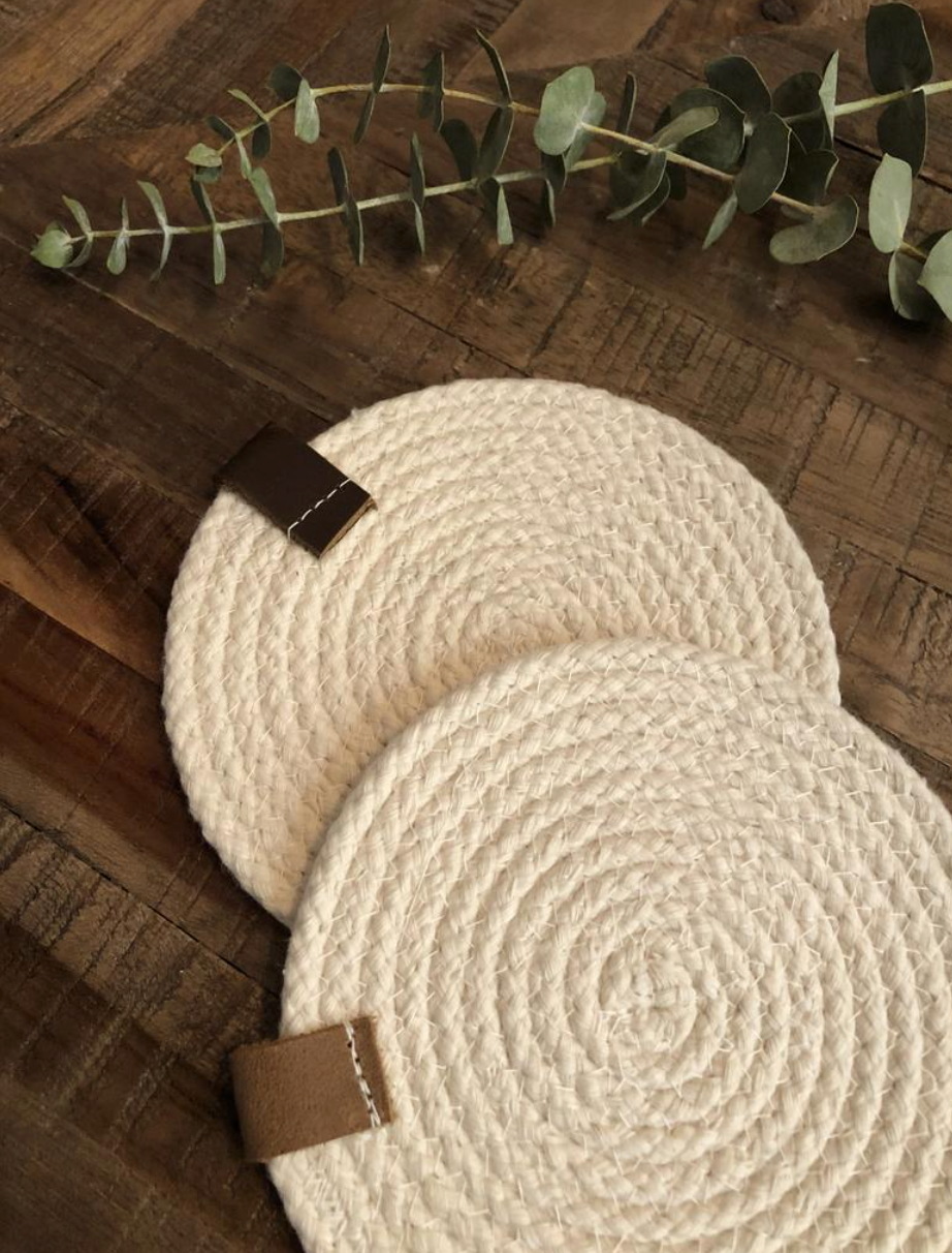 Michelle Card Designs Co. Woven Rope Coaster Set x4