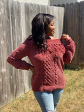 Load image into Gallery viewer, Cold Shoulder Merlot Sweater