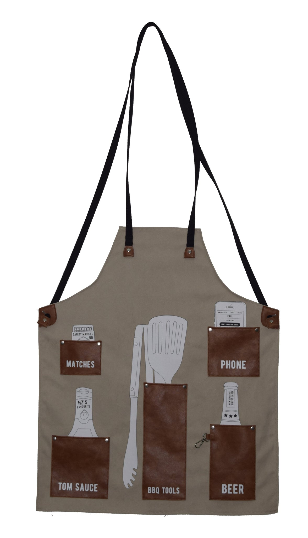 Moana Rd Moana Road BBQ Apron Tan The perfect man gift for that special man in your life! Cotton canvas apron with PU leather pockets and straps. It also comes with a Moana Rd Moana Road infinity bottle opener!