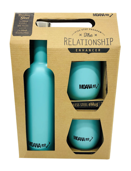 Moana Rd Moana Road - The Relationship Enhancer - Wine Cooler Set 1 x 750mls Reusable Wine Holder - 2 x 350mls Reusable eMugs - Double Walled & Insulated - Inner and outer material made of food-grade 304 stainless steel. BPA free, reusable and environmentally friendly.