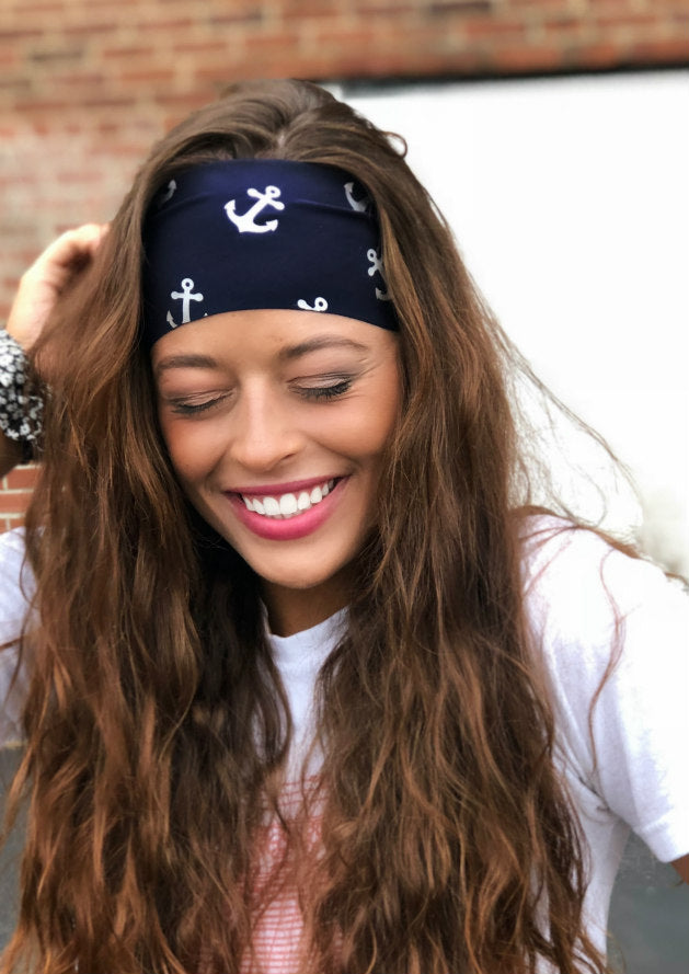 Navy Nautical Antimicrobial Yoga Headbands