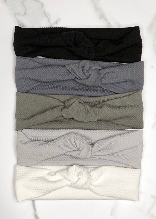Black, White and Gray Top Knot Headbands by MandaBees