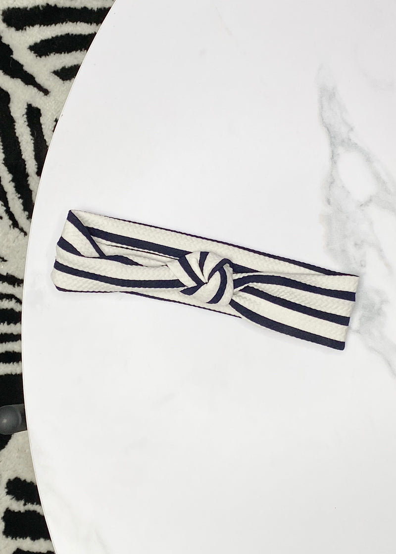 Striped Textured Top Knot Baby Headband