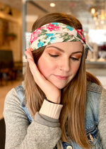 Cream Twisted Headwrap with Blue and Red Floral Pattern